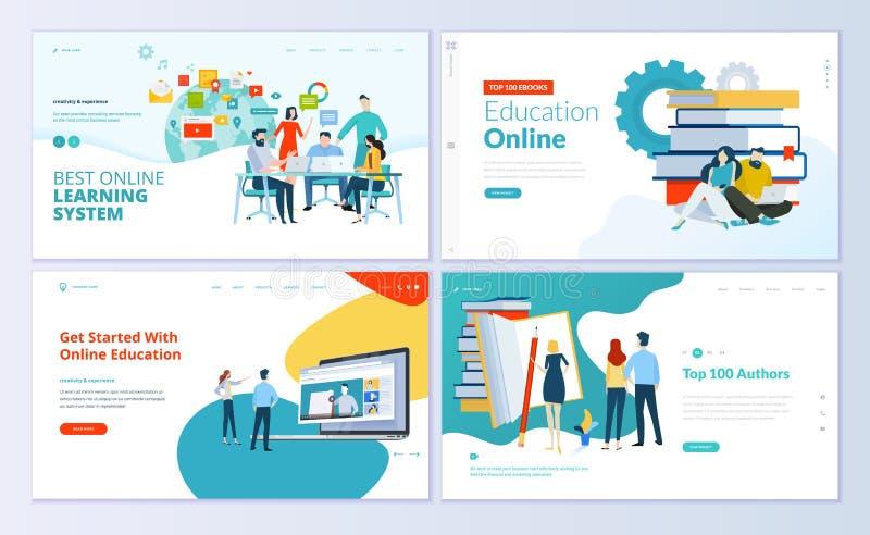 Insieme dei modelli di progettazione della pagina Web per l'e-learning, istruzione online, libro elettronico royalty illustrazione gratis