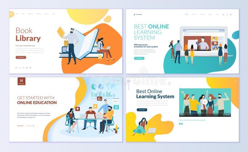 Insieme dei modelli di progettazione della pagina Web per la biblioteca del libro, online imparanti, istruzione illustrazione di stock