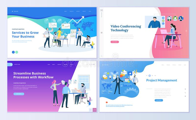 Insieme dei modelli di progettazione della pagina Web per la gestione di progetti, la comunicazione commerciale, il flusso di lav royalty illustrazione gratis