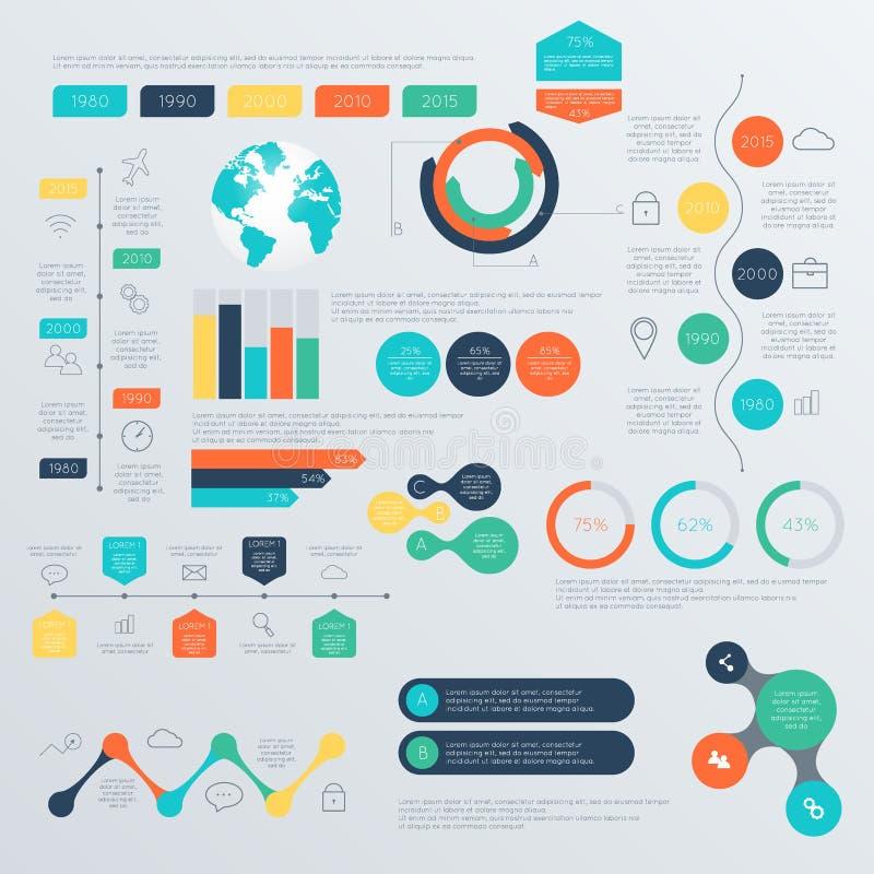 Insieme dei modelli di progettazione di Infographic di cronologia illustrazione di stock
