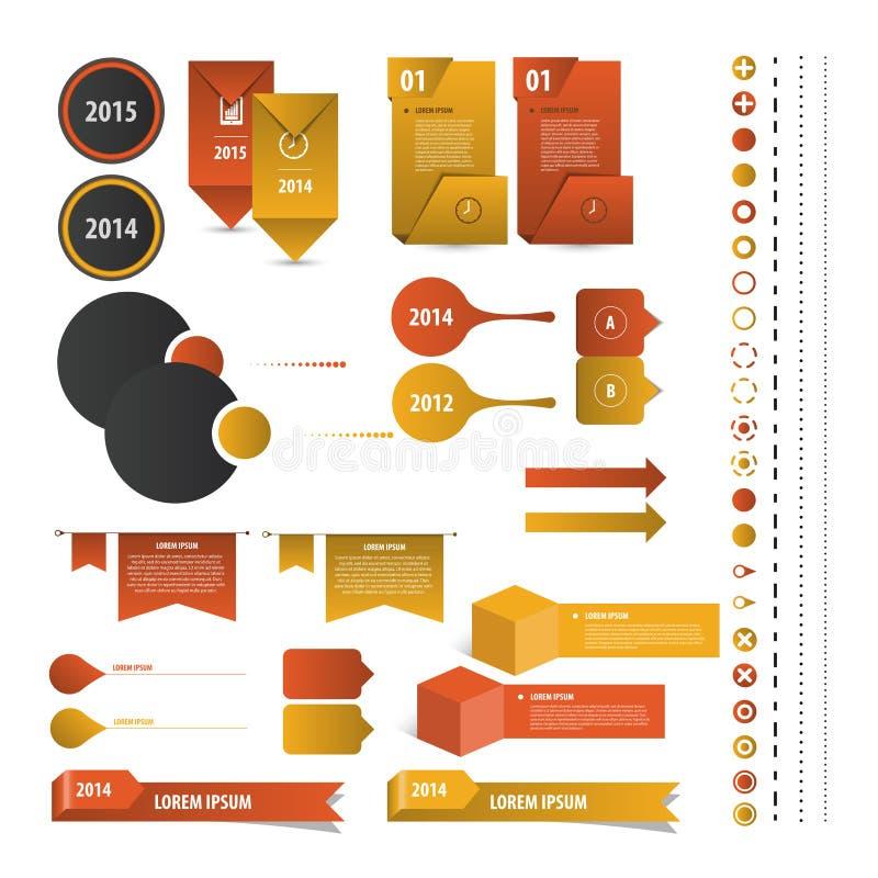 Insieme dei modelli di progettazione di Infographic di cronologia Vettore illustrazione di stock