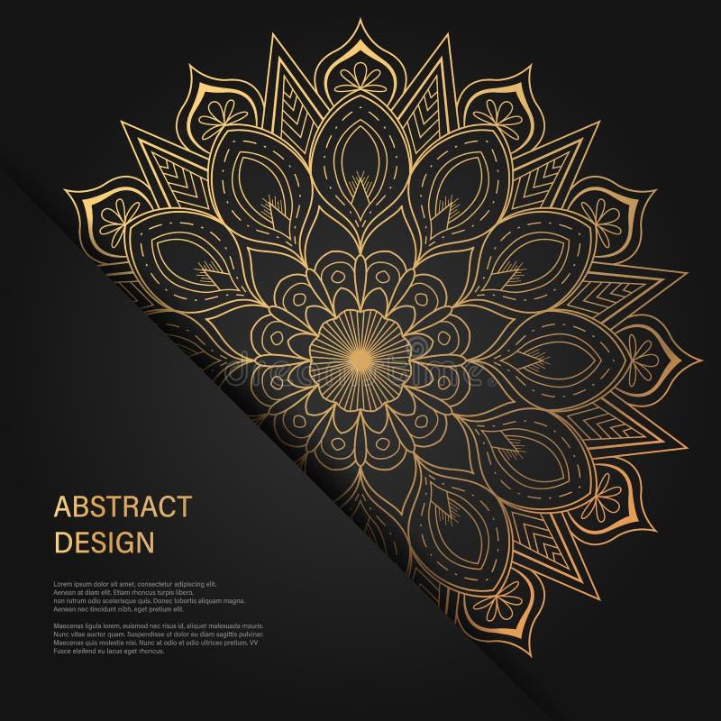 Insieme dei modelli di progettazione di vettore Biglietto da visita con l'ornamento floreale del cerchio Stile della mandala Oro  illustrazione di stock