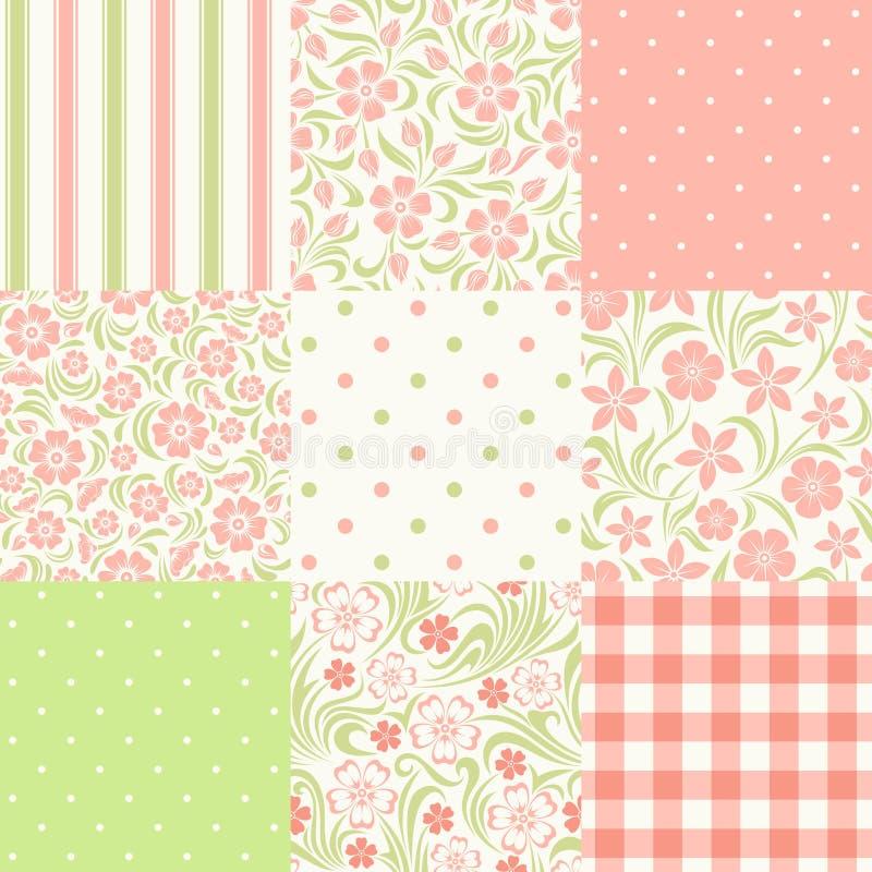 Insieme dei modelli floreali e geometrici senza cuciture Illustrazione di vettore illustrazione vettoriale