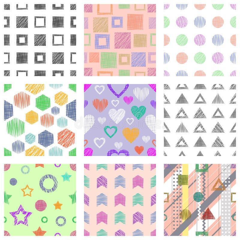 Insieme dei modelli geometrici di vettore senza cuciture con differenti figure geometriche, forme fondo senza fine pastello con t illustrazione di stock