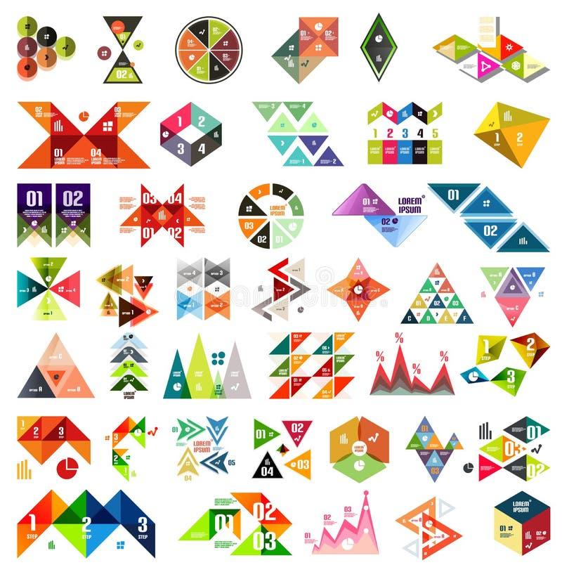 Insieme dei modelli geometrici infographic - triangoli illustrazione di stock