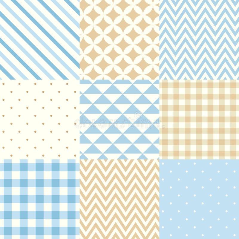 Insieme dei modelli geometrici senza cuciture blu e beige Illustrazione di vettore illustrazione vettoriale