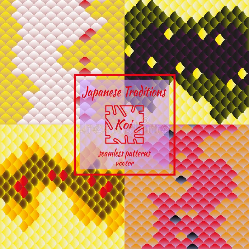 Insieme dei modelli giapponesi tradizionali alla moda Modello orientale nazionale, multi squame colorate della carpa Koi illustrazione di stock