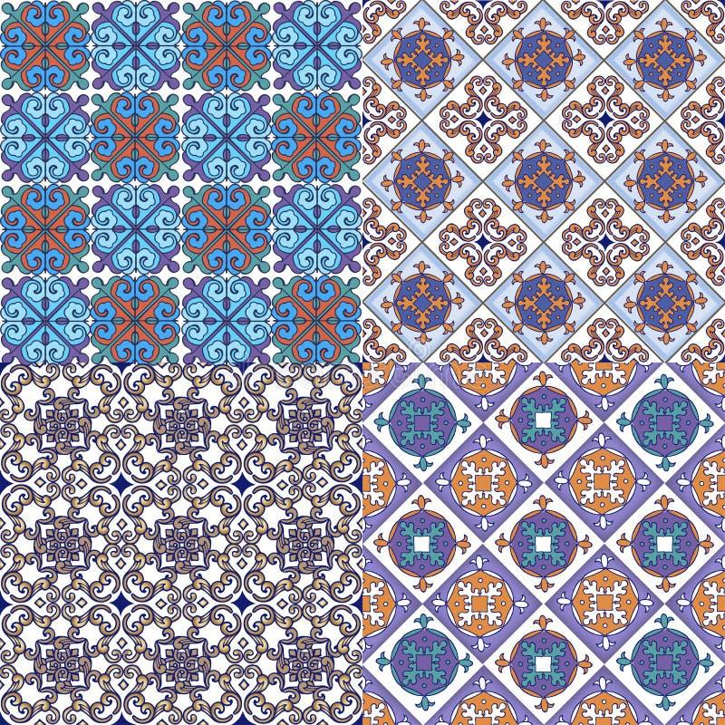 Insieme dei modelli orientali senza cuciture variopinti L'ornamento decorativo può essere usato per la carta da parati, il contes royalty illustrazione gratis