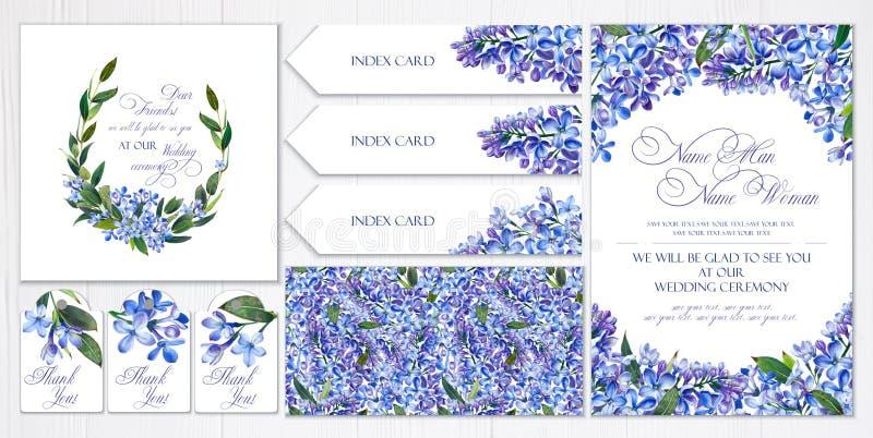 Insieme dei modelli per i saluti o gli inviti alle nozze Fiori, lillà e ramoscelli blu con le foglie illustrazione vettoriale