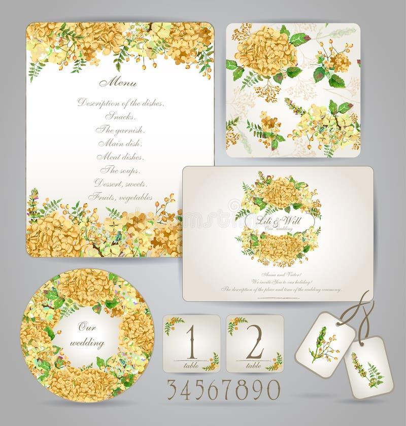 Insieme dei modelli per la celebrazione, nozze Fiori gialli royalty illustrazione gratis