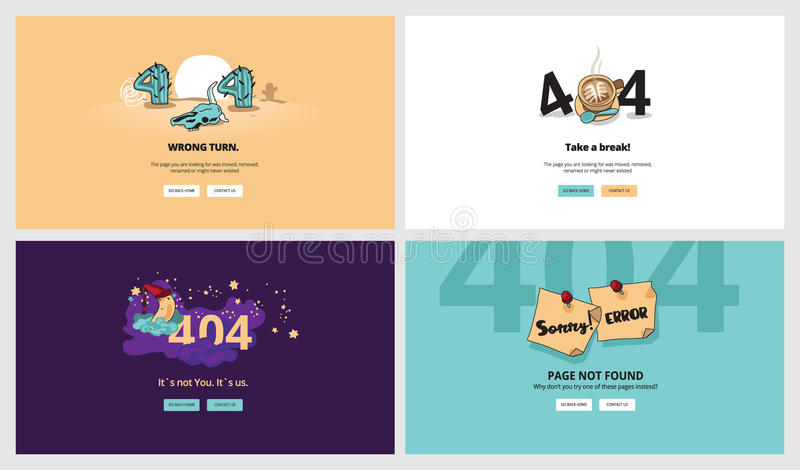 Insieme dei modelli piani della pagina di errore di progettazione 404 royalty illustrazione gratis