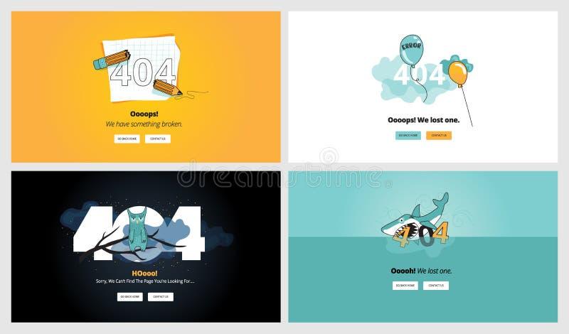 Insieme dei modelli piani della pagina di errore di progettazione 404 illustrazione vettoriale