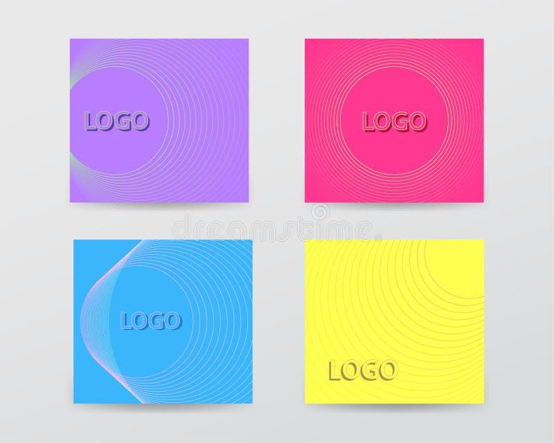 Insieme dei modelli quadrati delle insegne dell'estratto di monocolor con le linee stile illustrazione di stock