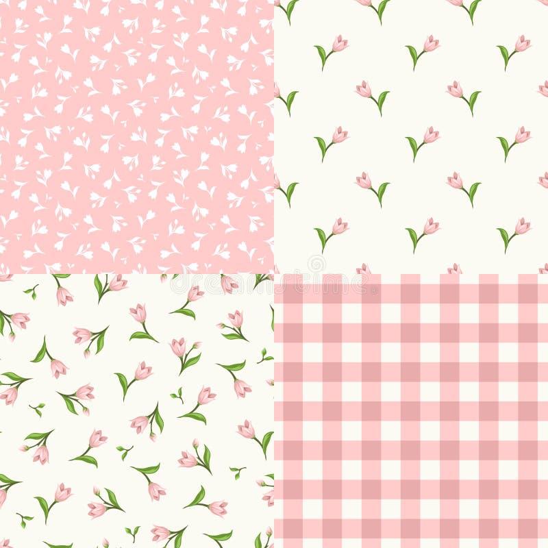 Insieme dei modelli rosa e bianchi floreali senza cuciture Illustrazione di vettore royalty illustrazione gratis