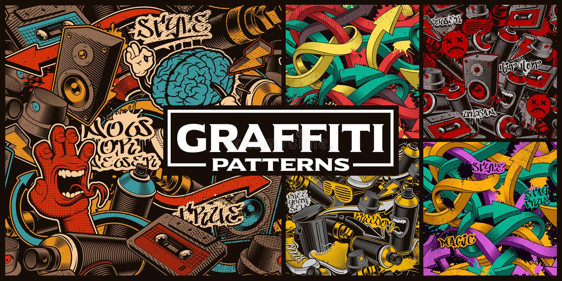 Insieme dei modelli senza cuciture con arte dei graffiti royalty illustrazione gratis