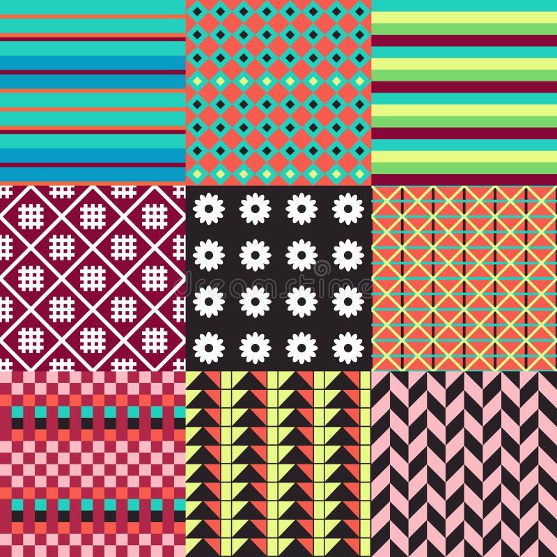 Insieme dei modelli senza cuciture della piastrellatura di colore in Puer tradizionale illustrazione di stock