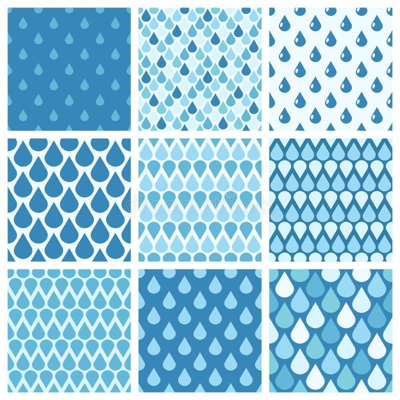 Insieme dei modelli senza cuciture delle gocce di acqua blu di vettore illustrazione di stock