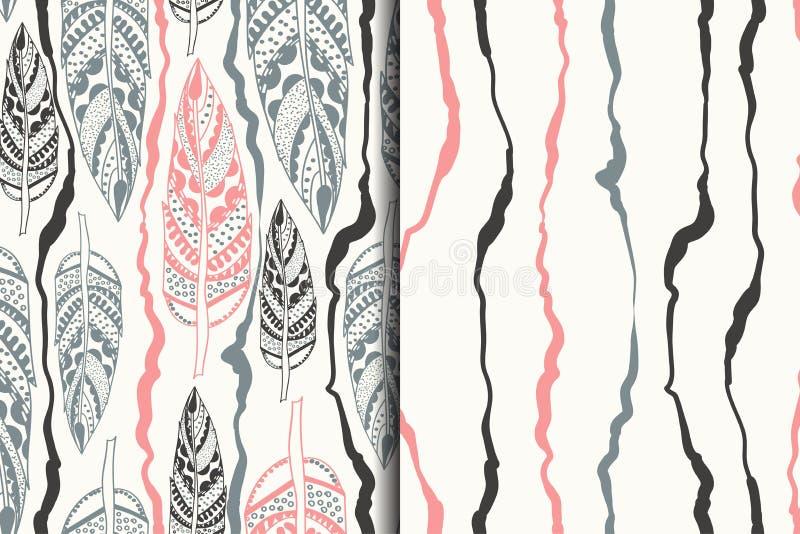 Insieme dei modelli senza cuciture di vntage con gli elementi tribali Ill di vettore illustrazione vettoriale