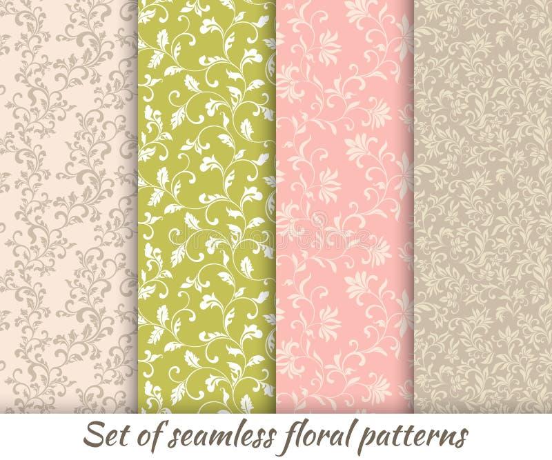 Insieme dei modelli senza cuciture floreali nello stile d'annata illustrazione di stock
