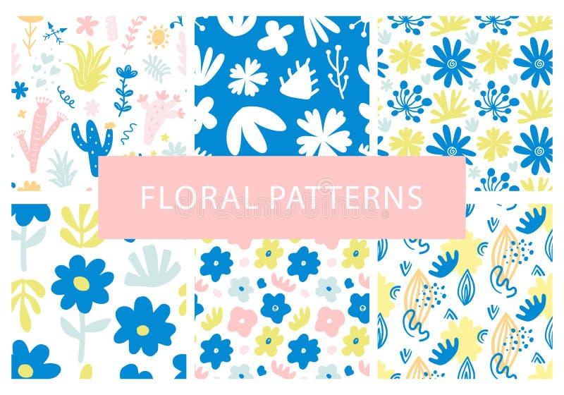 Insieme dei modelli senza cuciture floreali variopinti disegnati a mano di ripetizione illustrazione vettoriale