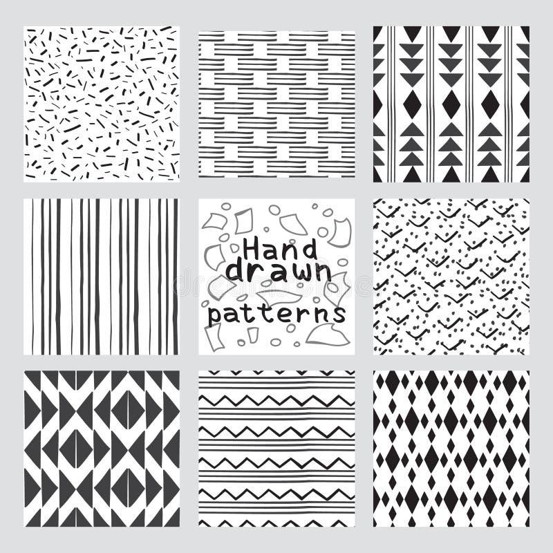 Insieme dei modelli senza cuciture geometrici dell'estratto disegnato a mano di stile illustrazione vettoriale