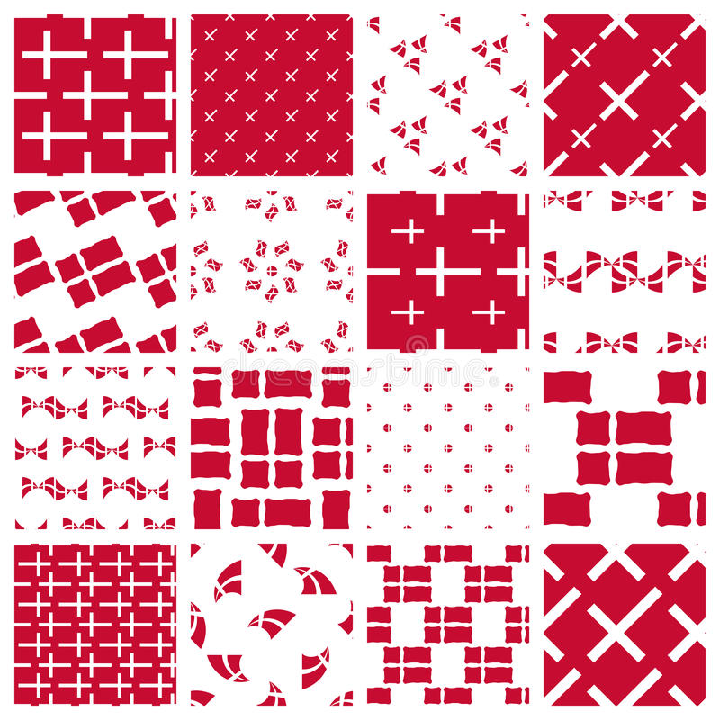 Insieme dei modelli stilizzati della bandiera danese illustrazione vettoriale