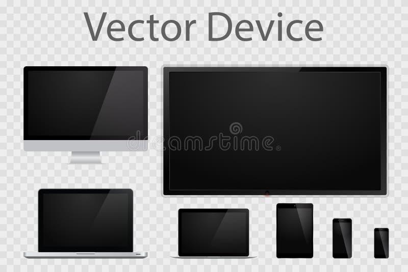 Insieme dei monitor, dei computer portatili, delle compresse, della TV e dei telefoni cellulari realistici del computer Aggeggi e illustrazione vettoriale