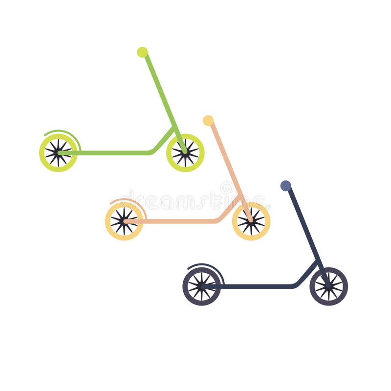Insieme dei motorini nei colori differenti illustrazione vettoriale
