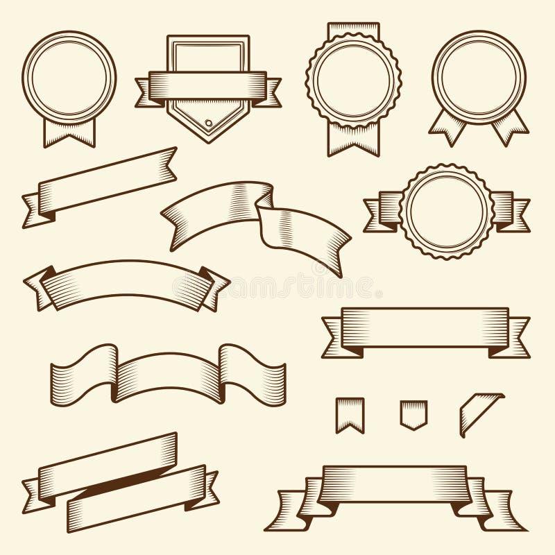 Insieme dei nastri d'annata e delle etichette isolati su fondo bianco Linea arte Disegno moderno illustrazione di stock