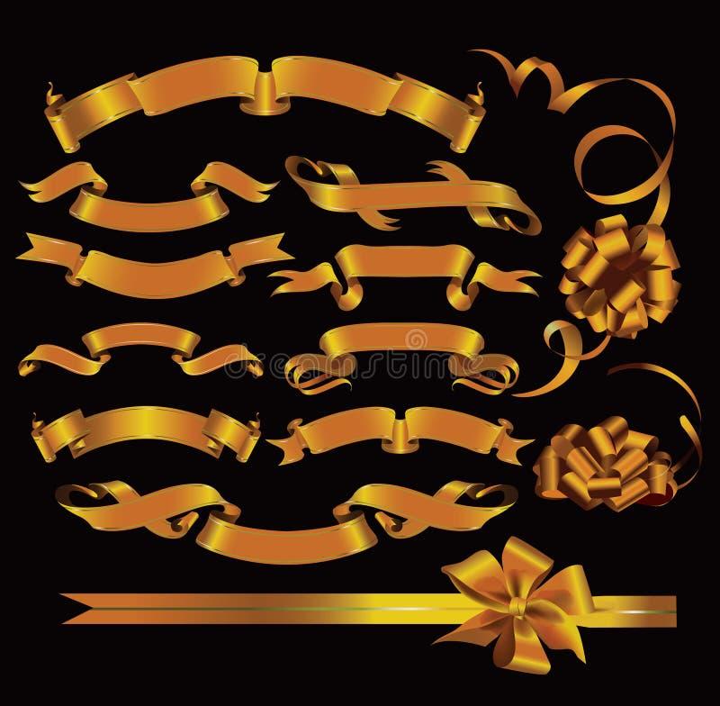 Insieme dei nastri dell'oro. illustrazione vettoriale
