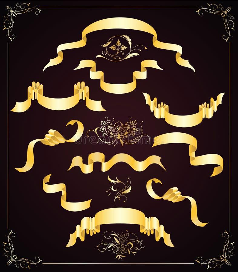 Insieme dei nastri dell'oro e degli elementi di disegno illustrazione vettoriale