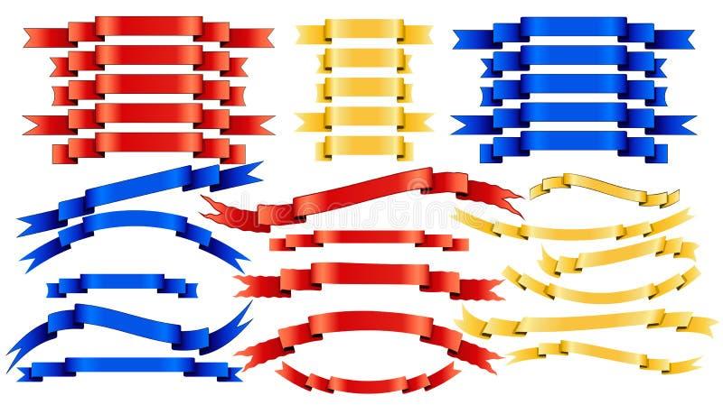 Insieme dei nastri dorati di rosso blu di vettore su fondo bianco illustrazione di stock