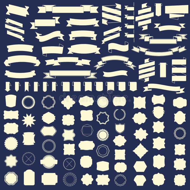 Insieme dei nastri e del telaio, distintivo, etichetta Modelli di vettore illustrazione vettoriale