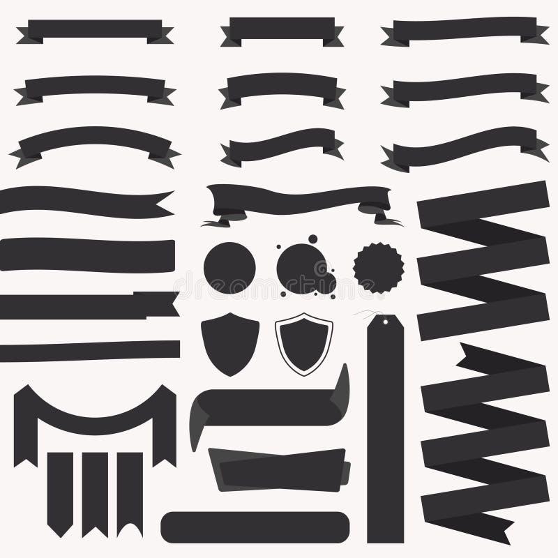 Insieme dei nastri e delle insegne Nastri d'annata, insegne, distintivi Etichette della raccolta del modello illustrazione vettoriale