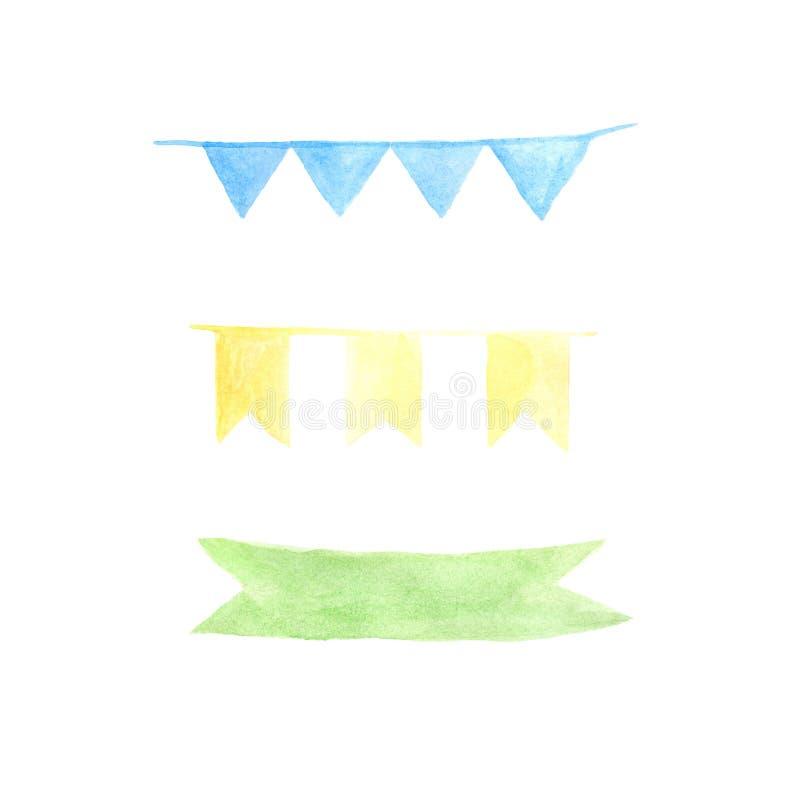 Insieme dei nastri e dei distintivi dell'acquerello illustrazione di stock