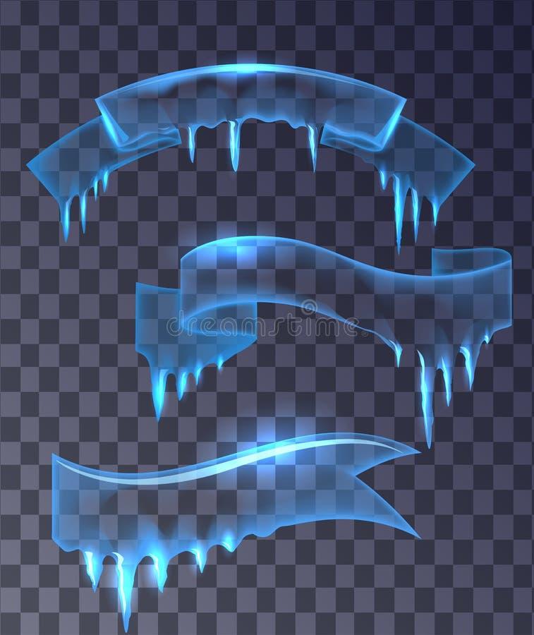 Insieme dei nastri trasparenti delle insegne del ghiaccio illustrazione di stock