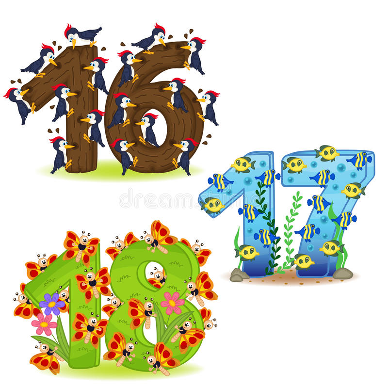 Insieme dei numeri con il numero degli animali da 16 a 18 illustrazione di stock
