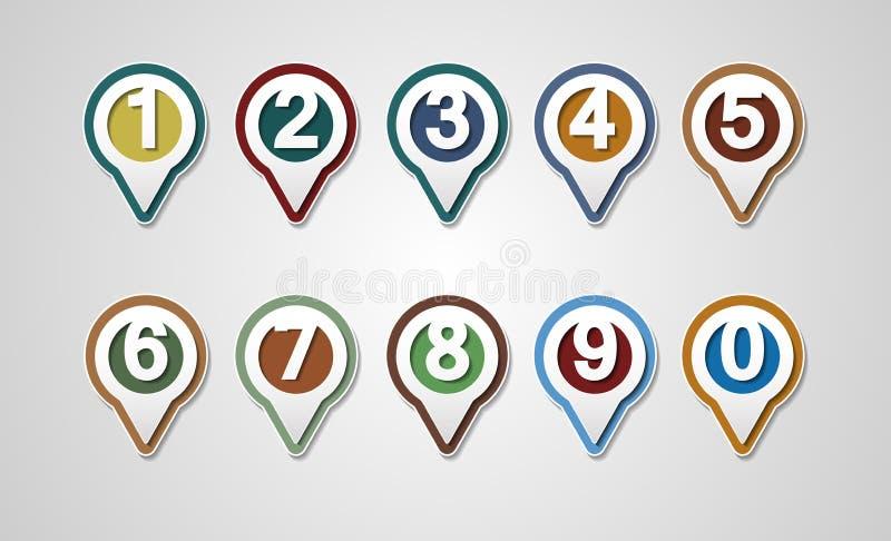 Insieme dei numeri di vettore Progettazione che traccia i perni royalty illustrazione gratis