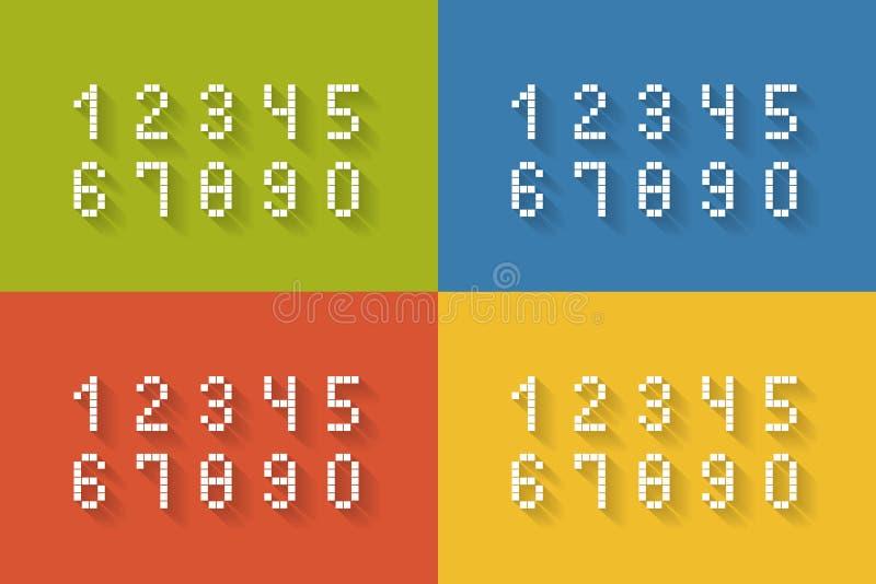 Insieme dei numeri piani del pixel illustrazione vettoriale