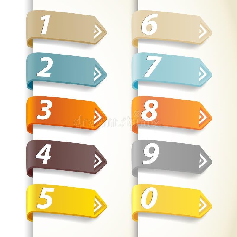 Insieme dei numeri variopinti con le frecce. illustrazione di stock