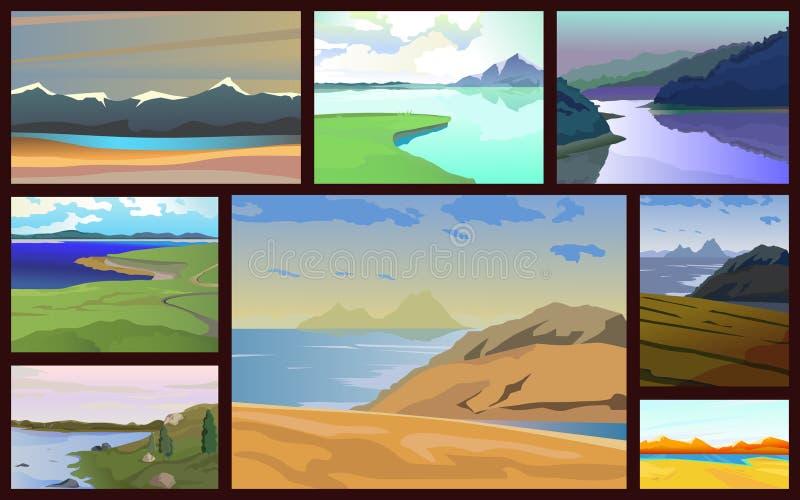 Insieme dei paesaggi con i laghi illustrazione vettoriale