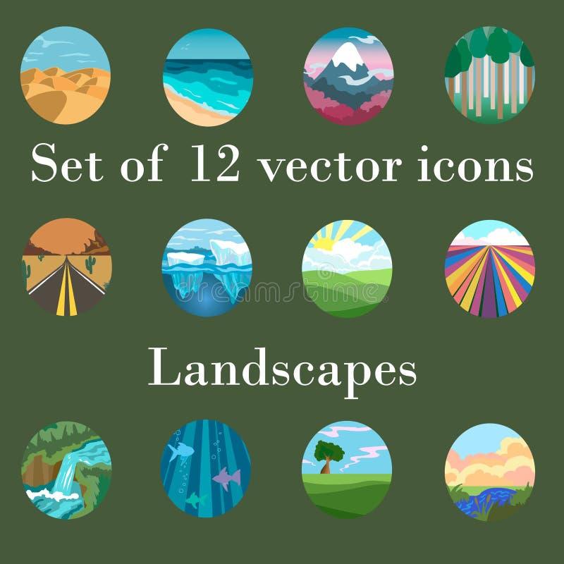Insieme dei paesaggi delle icone royalty illustrazione gratis