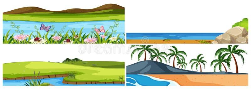 Insieme dei paesaggi differenti illustrazione vettoriale