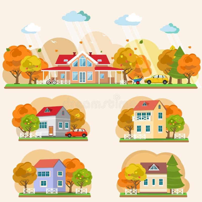 Insieme dei paesaggi piani di autunno di stile royalty illustrazione gratis