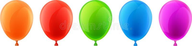 Insieme dei palloni realistici di celebrazione illustrazione vettoriale
