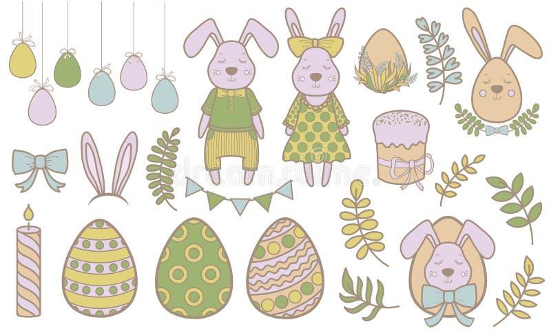Insieme dei personaggi dei cartoni animati di Pasqua e degli elementi svegli di progettazione Coniglietto, uova e fiori di pasqua illustrazione vettoriale