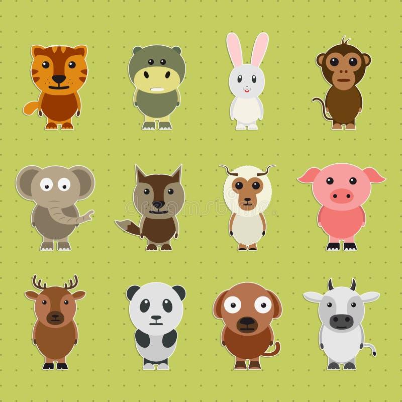 Insieme dei personaggi dei cartoni animati animali - Animali dei cartoni animati a colori ...