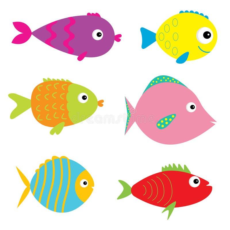 Insieme dei pesci svegli del fumetto. Isolato. illustrazione vettoriale