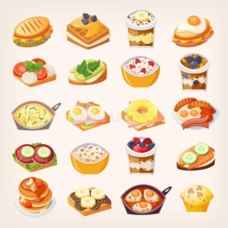 Insieme dei piatti della prima colazione royalty illustrazione gratis