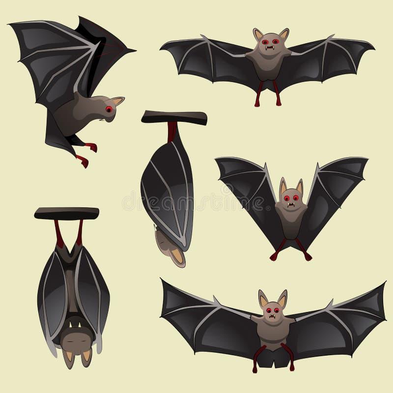 Insieme dei pipistrelli spettrali di Halloween royalty illustrazione gratis